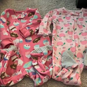 EUC Bundle of 2 Baby Girl's Pajamas with Footies
